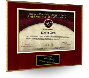 Debra Opri received the AV AWARD for the Highest Possible Rating in both Legal Ability & Ethical Standard